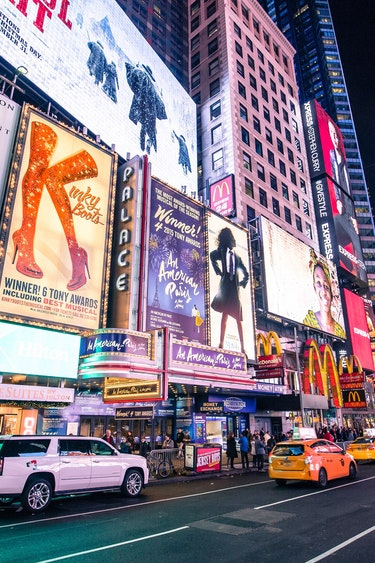Usa new york night street view