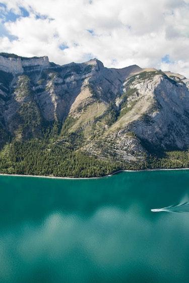 Can above banff national park aerial lake Minnewanka Summer paul zizka incms