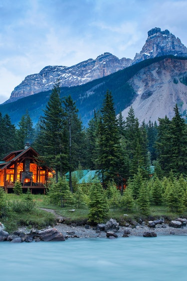 ca_cathedral mountain lodge with glacier fed river