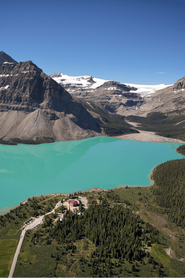 ca_couples_above banff national park aerial bow lake lodge summer
