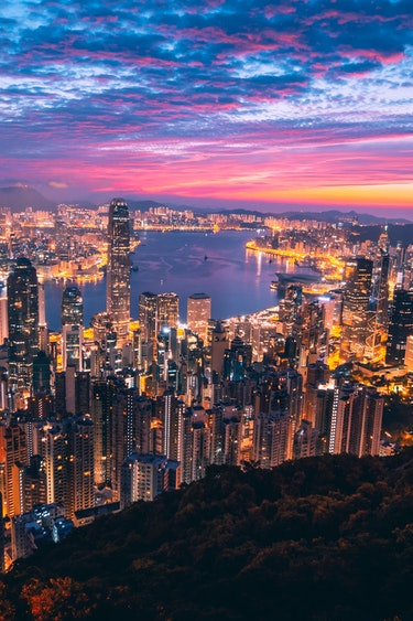 hong kong stopover skyline sunset