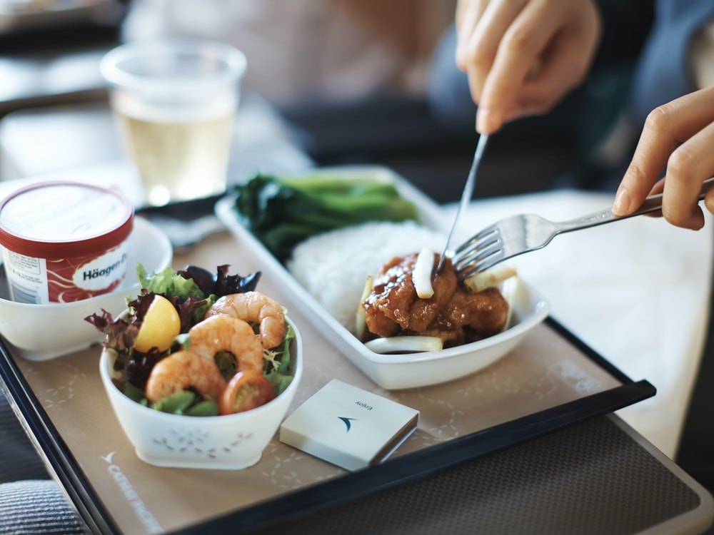 Lovely meal with Cathay Pacific Premium economy | Australia holiday