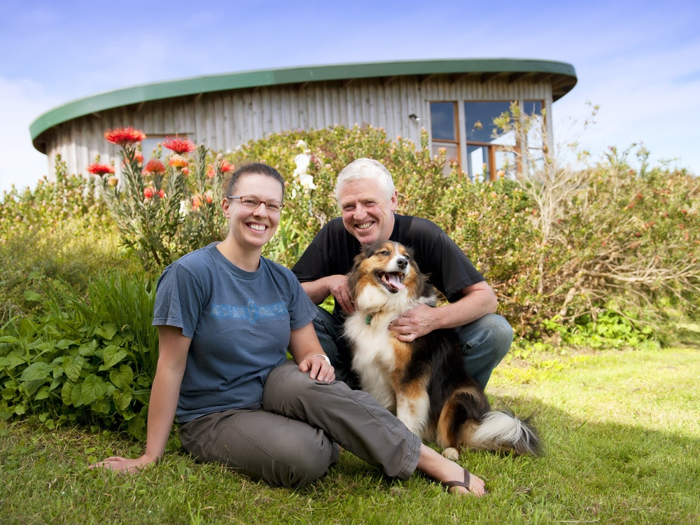 Local Aussie hosts with their dog in The Grampians