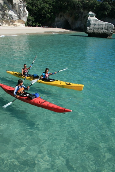 Nz cathedral cove kayak beach family see and do active