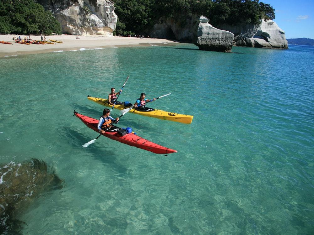 Go kayaking at Cathedral Cove   New Zealand holiday