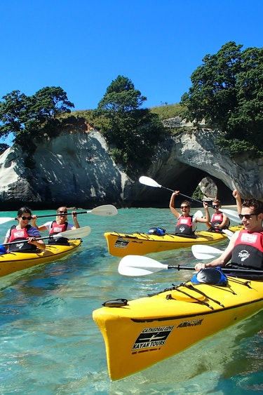 Nz cathedral cove kayak group family see and do active