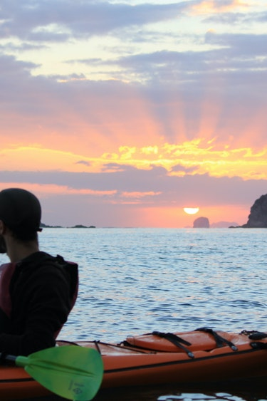 Nz cathedral cove kayak sunset family see and do active