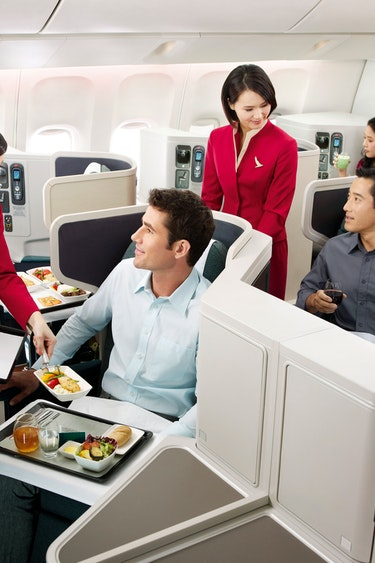 Nz cathay pacfic food service friends flights business class