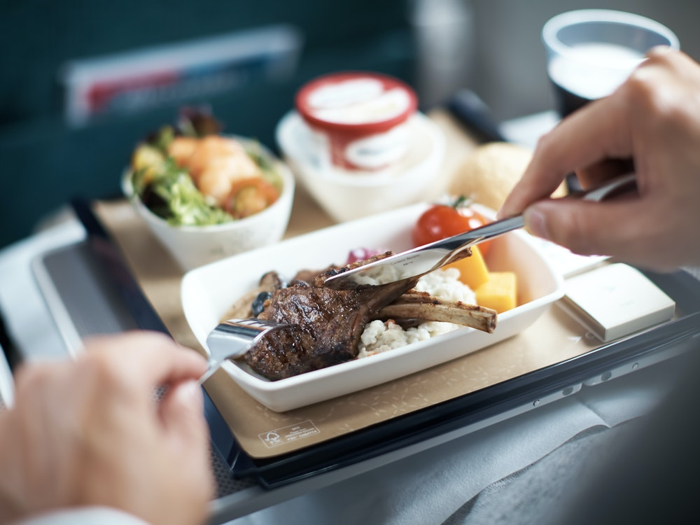 Enjoy a variety of food and drinks on your flight